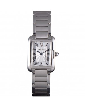 Cartier Tank Anglaise 23mm Silver Dial Stainless Steel Case And Bracelet