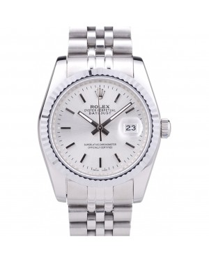 Rolex Datejust Silver Dial Ribbed Bezel 7457