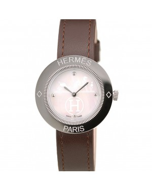 Hermes Classic MOP Dial Brown Leather Strap