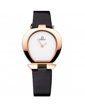 Omega Ladies Watch White Dial Gold Case Black Leather Strap 622820