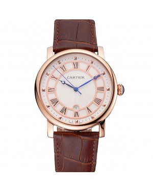 Cartier Rotonde Date White Dial Rose Gold Case Brown Leather Strap