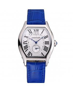 Cartier Tortue Large Date White Dial Stainless Steel Case Blue Leather Strap