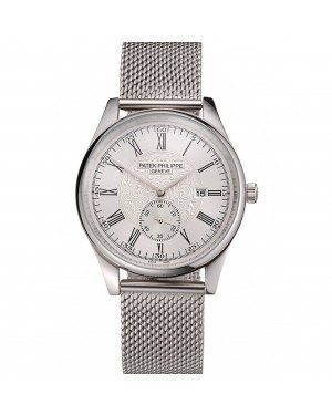 Patek Philippe Calatrava Small Seconds Silver Engraved Dial Stainless Steel Case And Bracelet