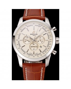 Breitling Transocean Beige Dial Brown Leather Strap Polished Stainless Steel Bezel