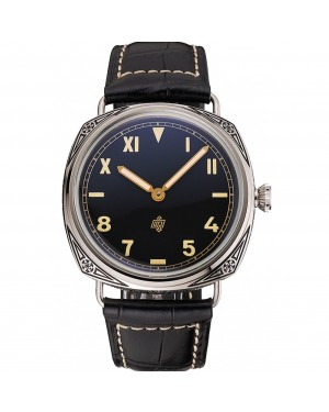 Panerai Radiomir Firenze PAM604 Black Dial Roman Numerals Engraved Stainless Steel Case Black Leather Strap