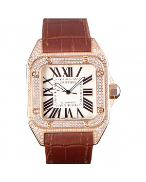 Swiss Cartier Santos Rose Gold Bezel with Diamonds and Brown Leather Strap sct46 621530