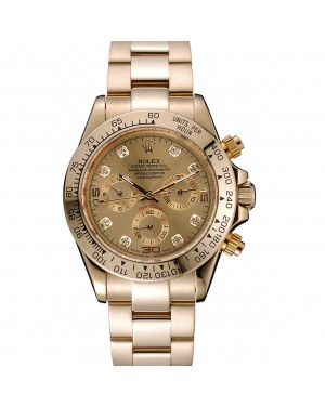 Rolex Cosmograph Daytona Brown Dial Diamond Numerals Gold Case And Bracelet 1454245