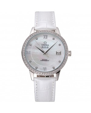Omega DeVille Prestige Co-Axial Diamond Silver Case Mother-Of-Pearl Dial White Leather Strap