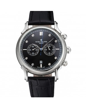 Patek Philippe Chronograph Black Dial With Diamonds Stainless Steel Case Black Leather Strap
