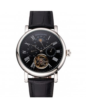 Patek Philippe Grand Complications Moonphase Perpetual Calendar Tourbillon Black Dial Stainless Steel Case Black Leather Strap
