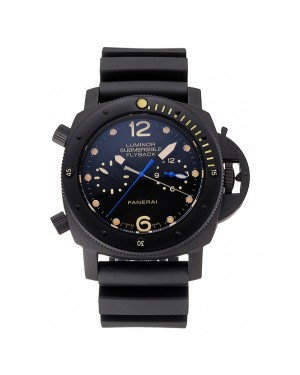 Panerai Luminor Submersible Flyback GMT Black Dial Yellow Markings Black Ionized Case Black Rubber Strap