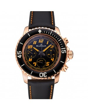 Swiss Blancpain Fifty Fathoms Flyback Chronograp Carbon Fiber Dial Rose Gold Case Black Leather Strap