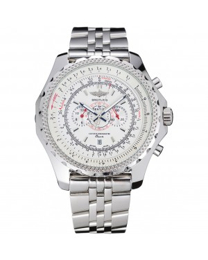 Breitling Bentley Chronograph White Dial Stainless Steel Strap