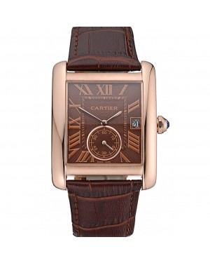 Cartier Tank MC Brown Dial Gold Case Brown Leather Strap 622583