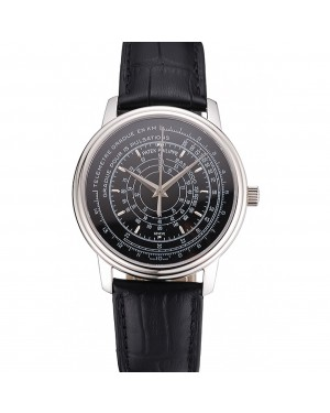 Swiss Patek Philippe Multi-Scale Chronograph Black Dial Stainless Steel Case Black Leather Strap
