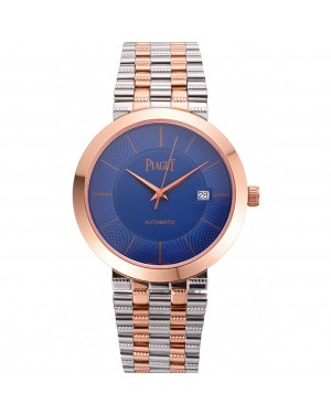 Swiss Piaget Traditional Blue Dial Gold Case Two Tones Stainless Steel Strap
