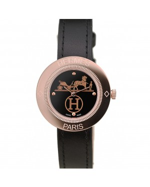Hermes Classic MOP Dial Black Leather Strap
