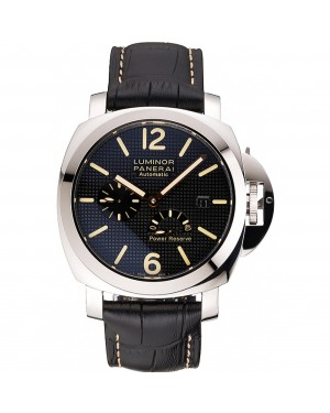 Panerai Luminor Automatic Power Reserve Black Embossed Dial Stainless Steel Case Black Leather Strap