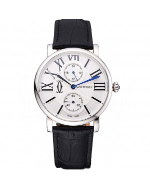 Cartier Ronde Second Time Zone White Dial Stainless Steel Case Black Leather Strap 622798