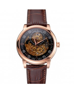 Swiss Patek Philippe Complications Openworked Dial Rose Gold Case Brown Leather Strap
