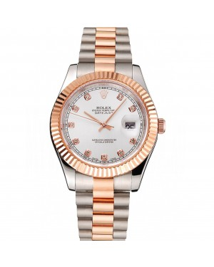 Swiss Rolex Datejust White Dial Rose Gold Bezel Stainless Steel Case Two Tone Bracelet
