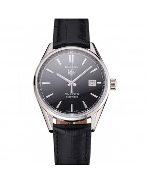 Swiss Tag Heuer Carrera Calibre 5 Black Dial Stainless Steel Case Black Leather Strap