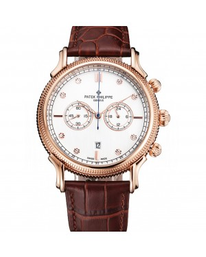Patek Philippe Chronograph White Dial With Diamonds Rose Gold Case Brown Leather Strap