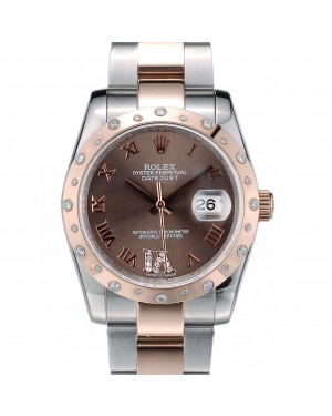 Rolex DateJust Brushed Stainless Steel Case Brown Dial Diamond Plated 41994