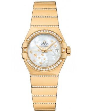 AAA Replica Omega Constellation Brushed Chronometer Star 27mm Ladies Watch 123.55.27.20.05.002