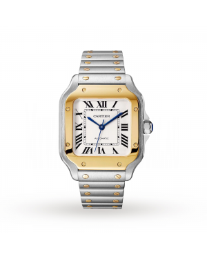 Swiss Santos de Cartier watch, Medium model, automatic, yellow gold and steel, interchangeable metal and leather bracelets