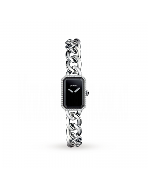 Swiss Designer Premiere Steel and Onyx Watch