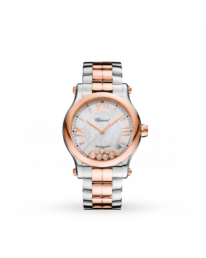 Swiss Chopard Happy Sport 36mm Automatic 18ct Rose Gold Stainless Steel and Diamond Ladies Watch