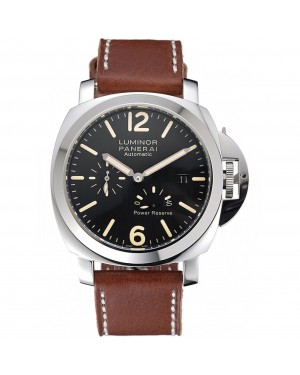 Panerai Luminor Automatic Power Reserve Black Dial Stainless Steel Case Brown Leather Strap