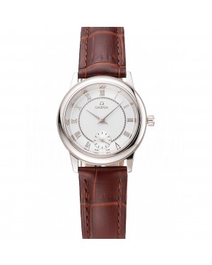 Omega De Ville Prestige Small Seconds Silver Dial Stainless Steel Case Brown Leather Strap