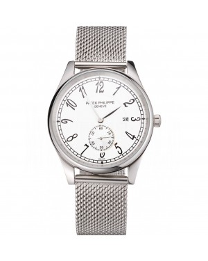 Patek Philippe Calatrava Small Seconds White Dial Stainless Steel Case And Bracelet