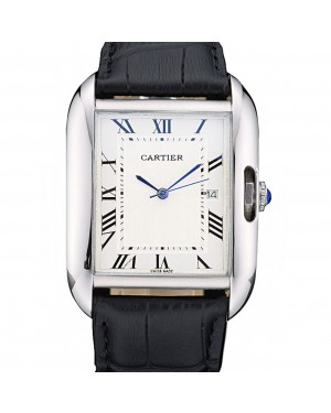 Cartier Tank Anglaise 36mm White Dial Stainless Steel Case Black Leather Bracelet