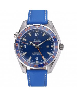 Omega Seamaster Planet Ocean GMT Blue Dial Blue Leather Band 622394