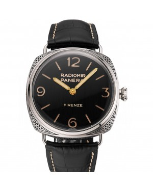 Panerai Radiomir Firenze 3 Days Acciaio PAM604 Black Dial Engraved Stainless Stell Case Black Leather Strap