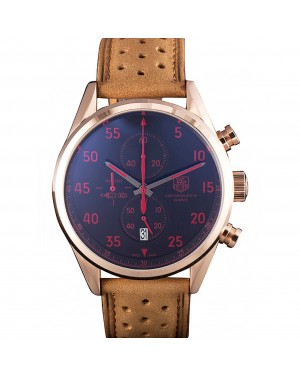 Tag Heuer Carrera SpaceX Rose Gold Bezel with Black Dial and Light Brown Leather Strap 621532