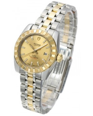 AAA Replica Tudor Classic Date Champagne Dial Steel Yellow Gold Strap Ladies Watch 22013-1