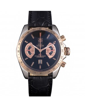 Tag Heuer Carrera Stainless Steel Case Black Dial Black Leather Strap