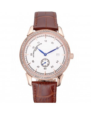 Vacheron Constantin Traditionnelle White Ship Dial Rose Gold Case With Diamonds Brown Leather Strap