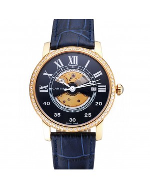 Swiss Cartier Rotonde Small Complication Blue Dial Gold Diamond Case Blue Leather Strap