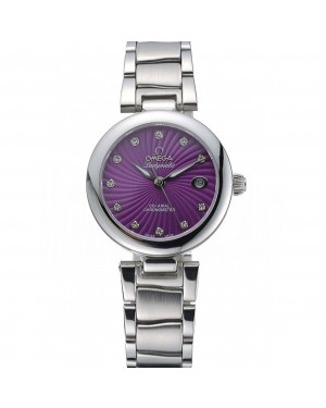 Omega Ladymatic Purple Dial Stainless Steel Bracelet 622459