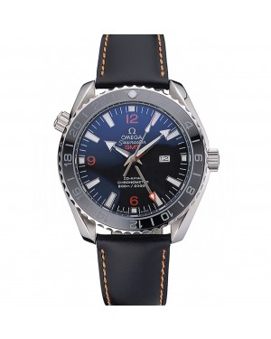 Omega Seamaster Planet Ocean GMT Black Dial Black Leather Band 622393