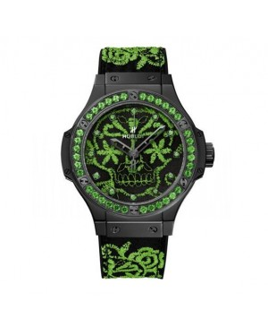 AAA Replica Hublot Big Bang Broderie Sugar Skull Fluo Malachik Green Watch 343.CG.6590.NR.1222