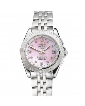 Breitling Colt Lady Pink Dial Diamond Hour Marks Stainless Steel Case And Bracelet