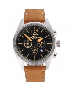 Bell and Ross BR126 Flyback Black Dial Silver Case Gold Numerals Brown Suede Leather Strap