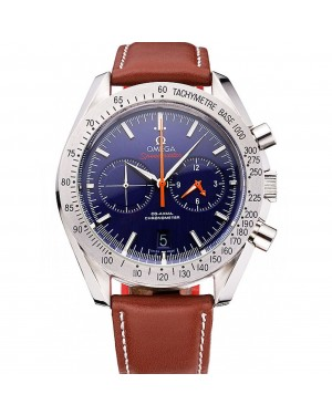 Omega Speedmaster Blue Dial Stainless Steel Case Brown Leather Strap 622807