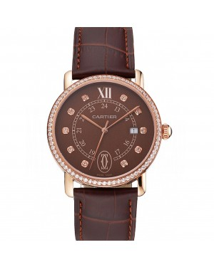 Cartier Ronde Solo Brown Dial Diamond Hour Marks And Bezel Rose Gold Case Brown Leather Strap